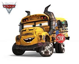 Desktop hintergrundbilder Omnibus Cars 3 Weißer hintergrund school bus Zeichentrickfilm