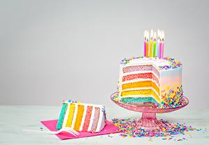 Wallpapers Cakes Candles Pieces Food