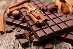 Fotos Schokolade Zimt Sternanis Hautnah Schokoladentafel das Essen