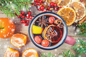 Pictures Christmas Drink Mandarine Star anise Illicium Berry Cup Food