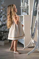 Pictures New year Little girls Hair Dress Mirror Children