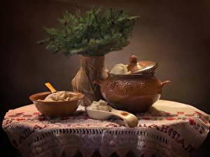 Bilder Neujahr Stillleben Wareniki Vase Ast Die Sahne Lebensmittel