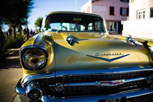 Pictures Closeup Antique Chevrolet Front Headlights Gold color Bel Air Cars