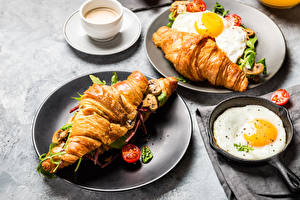 Wallpapers Croissant Vegetables Breakfast Fried egg Cup Food