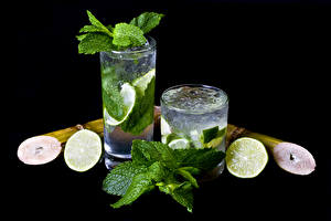Wallpapers Drinks Lime Mojito Black background 2 Highball glass Leaf Food