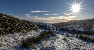 Bilder England Winter Schnee Sonne Zaun Hügel Lake District National Park Natur