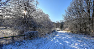 Wallpaper England Winter Roads Snow Trees Fence Yorkshire Nature