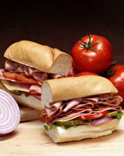 Bilder Fast food Sandwich Fleischwaren Gemüse Brot