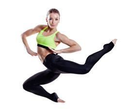 Bilder Fitness Weißer hintergrund Uniform Sprung Mädchens Sport