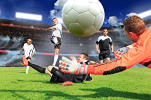 Bilder Fußball Mann Ball Hand Sprung Sport