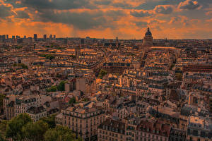 Fotos Frankreich Gebäude Sonnenaufgänge und Sonnenuntergänge Abend Paris Megalopolis Von oben Städte