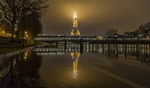 Bilder Frankreich Flusse Brücken Paris Nacht Eiffelturm