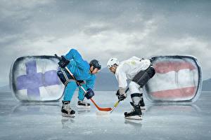 Фотографии Хоккей Мужчины Два В шлеме Коньках