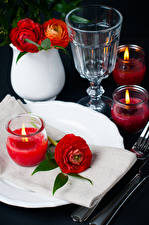 Wallpapers Holidays Ranunculus Candles Vodka Red Shot glass Flowers