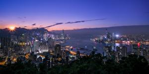 Fotos Hongkong Gebäude China Nacht Bucht Städte