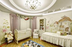 Hintergrundbilder Innenarchitektur Kinderzimmer Teddybär Design Bett
