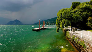 Hintergrundbilder Italien Bootssteg Bucht Zaun Intra Piedmont Natur
