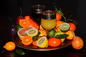 Bilder Saft Zitrusfrüchte Mandarine Zitrone Obst Weinglas Lebensmittel