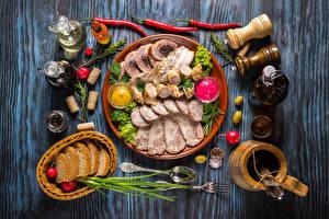Hintergrundbilder Fleischwaren Schinken Brot Bretter Teller Kanne