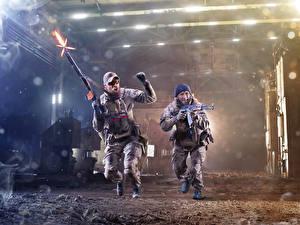 Images Men Soldiers Assault rifle 2 Run Firing military