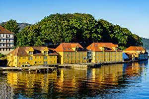 Wallpaper Norway Houses Rivers Pier Bergen Cities