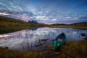 Hintergrundbilder Norwegen See Boot Himmel Abend Sulitjelma Natur