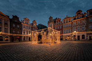 Wallpapers Poland Building Town square Night Fairy lights Street lights Poznan Cities