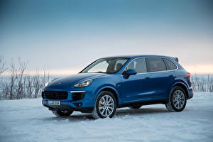 Wallpapers Porsche Metallic Blue 2014-16 Cayenne S Diesel Worldwide Cars