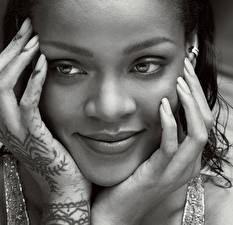 Pictures Rihanna Black and white Face Hands Glance Marcus Piggott Celebrities Girls