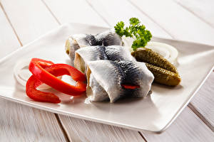 Fotos Meeresfrüchte Fische - Lebensmittel Gurke Rollmops