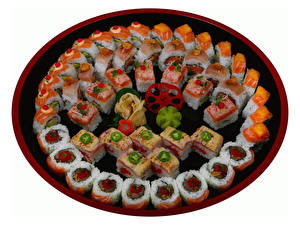 Wallpaper Seafoods Sushi Vegetables White background Plate Food