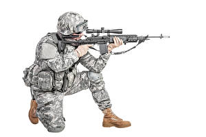 Images Soldiers Military war helmet Assault rifle White background Uniform military