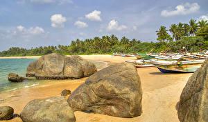 Bilder Sri Lanka Tropen Küste Stein Boot Galle Natur