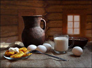 Pictures Still-life Milk Hotcake Breakfast Jugs Cup Egg Fork Food