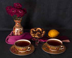 Pictures Still-life Tea Baking Lemons Chrysanths Cup 2 Vase Food