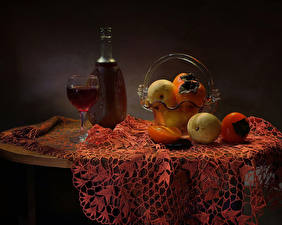 Wallpapers Still-life Wine Fruit Apples Persimmon Table Bottle Stemware
