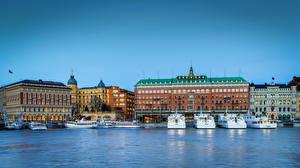 Fotos Schweden Stockholm Haus Flusse Bootssteg Binnenschiff Städte
