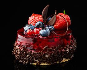 Pictures Sweets Fruit Blueberries Strawberry Gelatin dessert jelly Chocolate Dessert Black background Design Food