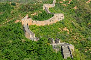 Sfondi desktop Cina Grande muraglia cinese Foreste Scalinata Natura