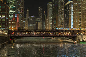 Pictures USA Houses Bridges Chicago city Night time Canal Cities