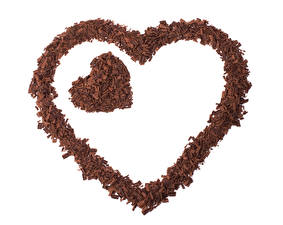 Image Valentine's Day Chocolate White background Heart Two Food