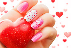 Pictures Valentine's Day Fingers Closeup Manicure Heart