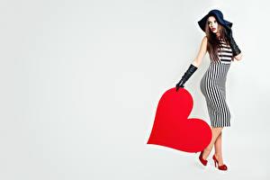 Image Valentine's Day Heart Hat Gown Glove Gray background female