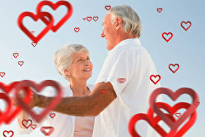 Picture Valentine's Day Men Love Two Heart Smile Old woman Old man