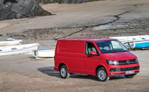 Bakgrundsbilder på skrivbordet Volkswagen Röd Metallisk 2015-18 Transporter Kasten Bilar