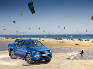 Bureaubladachtergronden Volkswagen Pick-up Blauw kleur 2016-18 Amarok Double Cab Aventura Auto