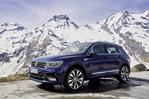 Bureaubladachtergronden Volkswagen Blauw kleur 2016-18 Tiguan R-Line Worldwide Auto