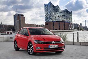 Bureaubladachtergronden Volkswagen Rood 2017-18 Polo Beats Worldwide Auto