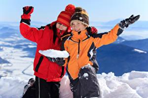 Picture Winter Boys 2 Winter hat Jacket Hands Snow Smile Children