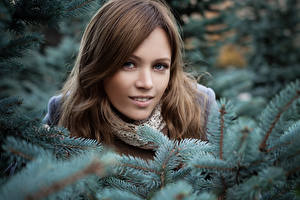 Pictures Winter Branches Face Glance Girls